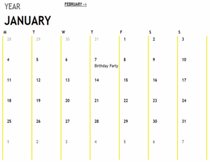 12 Month Calendar excel template feature image