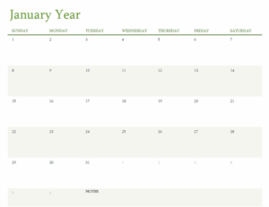 Any Year Calendar excel template feature image