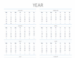 Any Year Calendar (Mon to Sun) Feature Image
