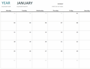 Any Year One Month Calendar feature image