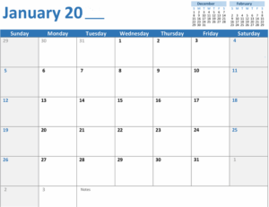 Any year Monthly Calendar Feature Image