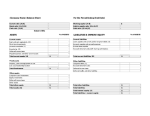 Balance sheet with financial ratios excel template feature image