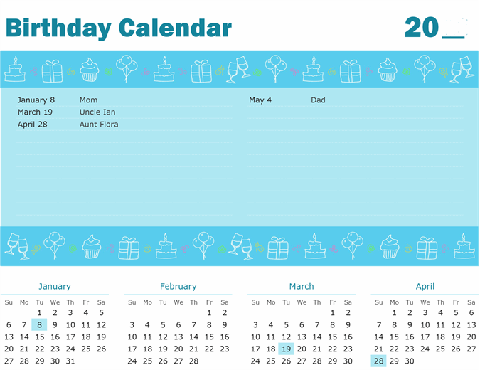 Birthday Calendar with Highlight Feature Image