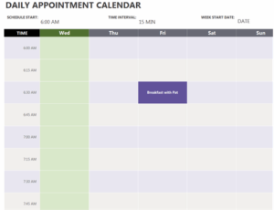 Daily Appointment Calendar excel template feature image