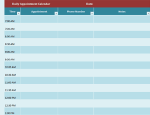 Daily Appointment Calendar Feature Image excel template