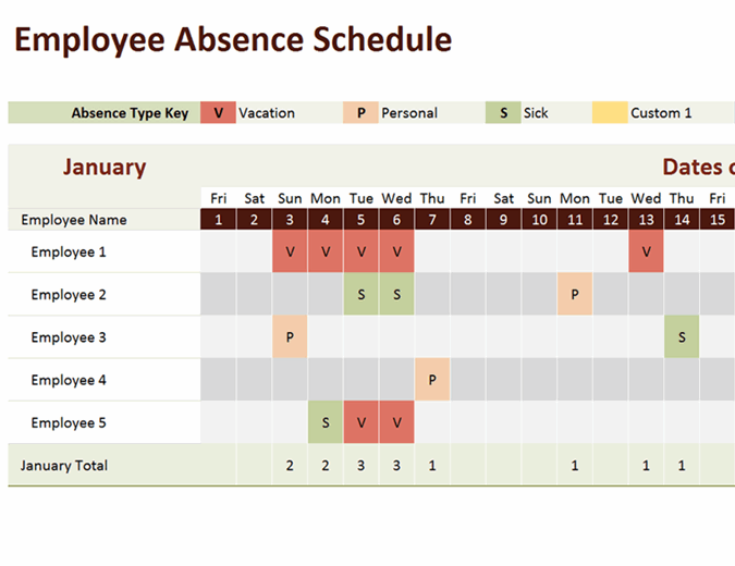 Employee absence schedule excel template feature image