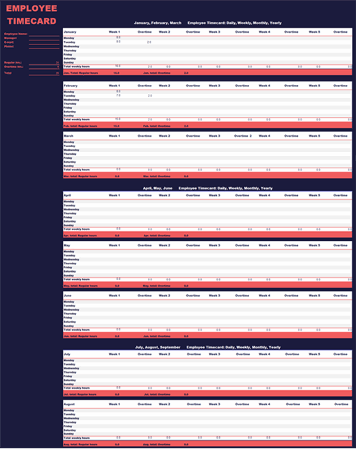 Employee time sheet (weekly, monthly, yearly) feature image