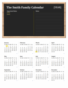 Family Calendar excel template feature image