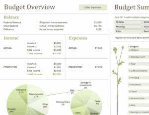 Family budget (monthly) excel template feature image