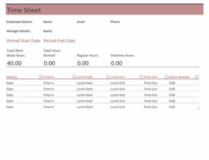 Time Sheet excel template feature image