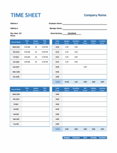 Weekly Timesheet excel template feature image