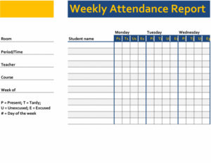 Weekly attendance report excel template feature image