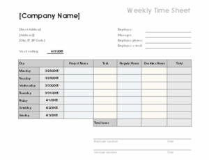 Weekly time sheet with tasks and overtime excel template feature image