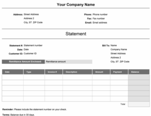 Billing statement (Simple) excel template feature image