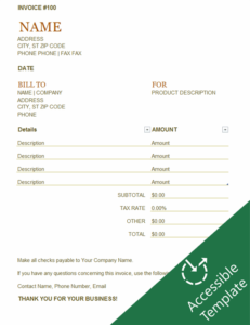 Invoice accessibility guide excel template feature image