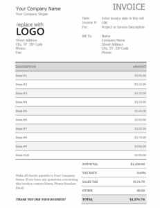 Invoice with sales tax excel template feature image
