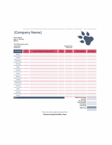 Pet-sitting invoice excel template feature image