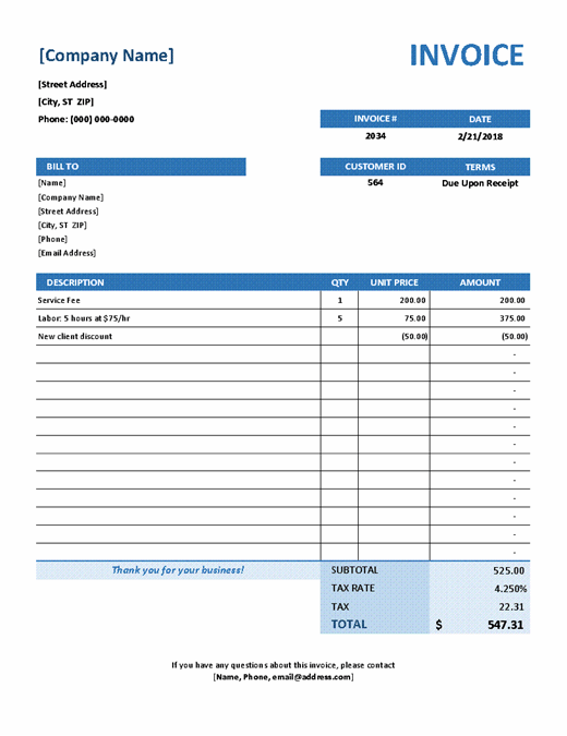 Simple Service Invoice excel template feature image