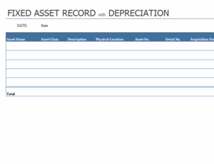 Fixed asset record with depreciation feature image