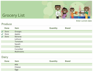 Grocery checklist with space for brand feature image