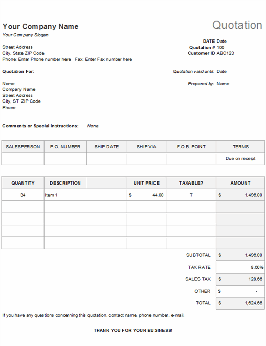 Price quotation with tax calculation feature image