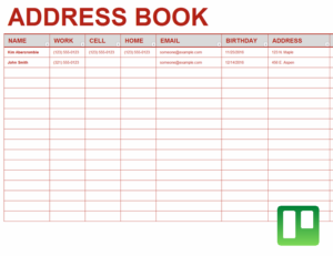 Address book excel template Feature Image