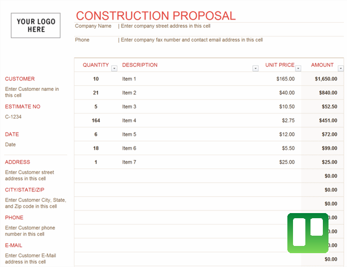Construction proposal excel template feature image