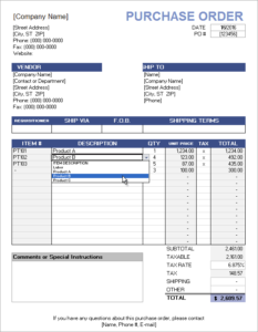 Purchase Order with Price List Excel Template Feature Image